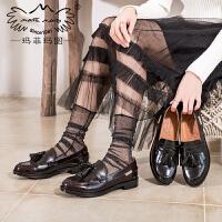 玛菲玛图女鞋2020新款单鞋女平底流苏中口套脚圆头牛津皮鞋春秋中跟小皮鞋607-2