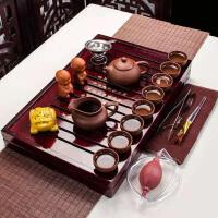 功夫茶具套装家用整套简约实木茶盘茶壶紫砂茶博士茶壶套装