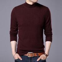 新款男士线衫高领纯羊毛秋冬新款韩版休闲男装毛衣长袖套头纯色针织打底衫