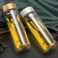 男女大容量过滤带盖茶杯耐热杯子双层玻璃杯 便携水杯