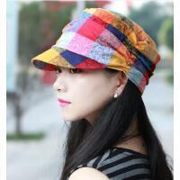 简约帽子女薄款棉质大格子平顶帽鸭舌帽女士时尚帽英伦气质妈妈帽户外新款