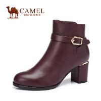 Camel/骆驼 通勤 打蜡牛皮圆头拉链扣带女靴 新冬款粗高跟短靴