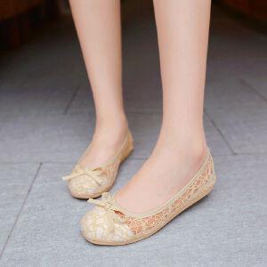 O'SHELL欧希尔新品057-1517韩版蕾丝平底鞋女士豆豆鞋