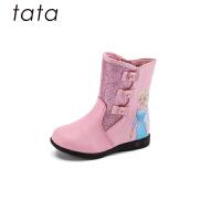 【3折价:170.4元】他她tata童鞋女童靴子冬季新款女靴冰雪奇缘中筒靴中大童公主时尚靴子