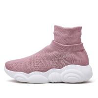 高帮运动鞋女2019新款学生超火百搭袜子针织轻便女鞋