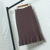 春季针织一步裙半身裙中长款毛线裙秋冬高腰显瘦包臀荷叶边鱼尾裙 均码 建议80-125斤穿