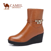 Camel/骆驼女鞋 时尚 水染牛皮圆头坡跟高跟中筒女靴新款