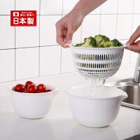 inomata日本进口厨房洗菜盆沥水篮套装塑料洗水果盆清洗篮子
