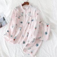 春夏季孕产妇产后喂奶哺乳服套装家居服月子服睡衣女双层纱布