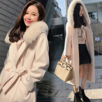 毛领毛呢外套女中长款2018韩版新款秋冬学生加厚过膝双面呢子大衣