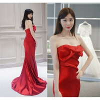 新款晚礼服长款显瘦抹胸韩版鱼尾包臀拖尾新娘敬酒服宴会公司年会 红色 红色