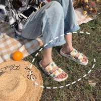 韩版新款菠萝沙滩凉拖鞋女度假外穿厚底百搭chic双带水果拖鞋夏季