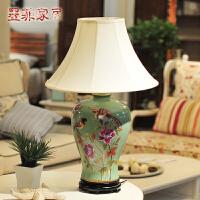 欧式台灯 现代时尚田园简约彩绘陶瓷创意家居客厅装饰台灯具
