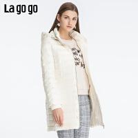 Lagogo2019冬新款立领连帽修身羽绒服女中长款纯色外套ICYY339A88