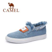 Camel/骆驼女鞋 时尚休闲 牛仔布圆头毛边百搭平底布鞋 新款单鞋
