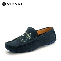 星期六男鞋(ST&SAT)牛皮革懒人一脚蹬驾车鞋真皮透气休闲豆豆鞋SS82126317