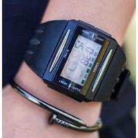 青个性潮流 防水夜光 少年学生方形手表防水夜光儿童男孩初中生个性男士电子表 方形手表 支持礼品卡