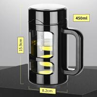 双层带盖泡茶杯子大容量玻璃杯家用带把手茶杯过滤水杯