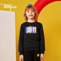 【每满100-50预估价:67】361度童装男童长袖套头卫衣2021年春季新品中大童运动休闲上衣学生款