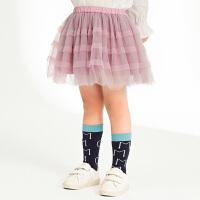【5折券预估价:99.5元】马拉丁童装女童半身裙纱裙春装新款公主粉色网纱儿童蛋糕短裙