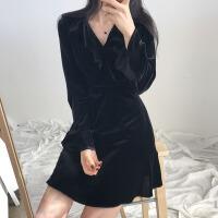 黑色连衣裙女韩国2018春装新款小女人气质显瘦丝绒裙短款小礼服裙 均码