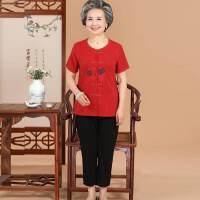 中老年女装短袖夏装开衫绣花T恤九分裤两件套妈妈装套装奶奶装