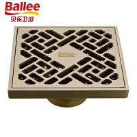 贝乐BALLEET45仿古铜色地漏全铜防臭地漏欧式仿古砖
