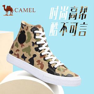 骆驼男鞋 帆布鞋高帮韩版平跟鞋子休闲潮鞋时尚舒适
