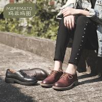玛菲玛图鞋子女2020新款复古英伦擦色方跟系带女鞋深口头层牛皮中跟单鞋女5852-5