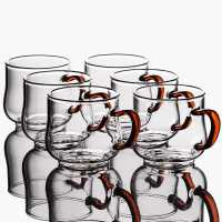 玻璃茶杯小杯子 带把加厚耐热功夫茶具茶碗6只装品茗杯主人杯家用