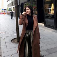 风衣女2017冬季新款中长款鹿皮绒外套英伦范双排扣大衣女 均码