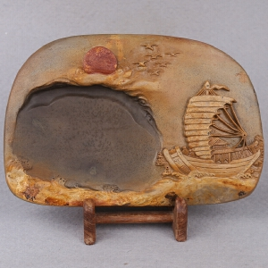 中国非物质文化遗产传承人群 钟景锐作品《一帆风顺》砚 宋坑