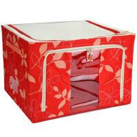 维特尔 大号牛津布铁架收纳箱 收纳盒 整理储物箱 66L 红色树叶