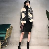 秋冬针织连衣裙两件套冬孕妇装秋冬款套装时尚款洋气格子毛衣外套