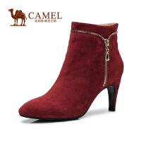 Camel骆驼 短靴 新款时尚华美 圆头酒杯跟羊�S侧拉链高跟女靴