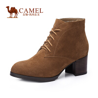 Camel/骆驼女鞋 时尚百搭 羊�S系带圆头粗跟高跟短靴秋季新款