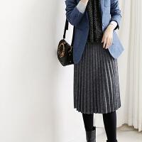 纯色羊毛针织裙2017新款 冬季百褶裙半身 中长裙 秋冬款