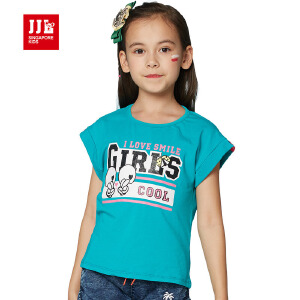 季季乐童装儿童夏季短袖圆领T恤女童休闲百搭卡通可爱短袖上衣