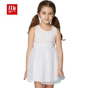 jjlkids季季乐童装女童舒适休闲夏季无袖连衣裙中小童薄款