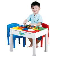 【跨店2件5折】小鲁班 儿童学习桌多功能乐高式拼装积木3合1学习桌椅套装玩具(不含积木)