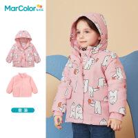 巴拉巴拉旗下马卡乐童装冬新品外套一衣三穿棉服男女宝宝满印两件套
