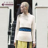 生活在左2018秋季新款女装长袖慵懒镂空时尚套头宽松毛衣短款薄款