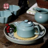 天蓝色汝窑小茶壶开片可养家用功夫泡茶单壶陶瓷单个大号