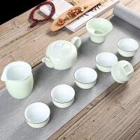 翡翠绿薄胎茶具茶壶盖碗整套茶具陶瓷功夫茶具