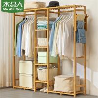 木马人简易衣柜布艺单双人挂衣实木收纳柜子租房全钢管架加固加粗