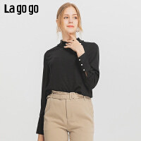 Lagogo/拉谷谷2019冬季新款木耳边领口设计雪纺衫女ICSS53XA01