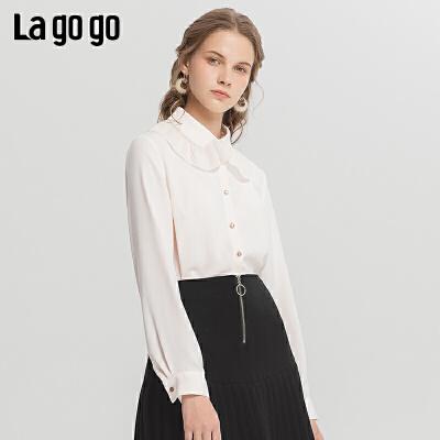 Lagogo2019冬季新款气质淑女长袖衬衫米色小众雪纺上衣ICCC439A01