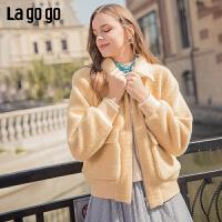 Lagogo/拉谷谷2019新款口袋拉链休闲外套女ICWW539B19