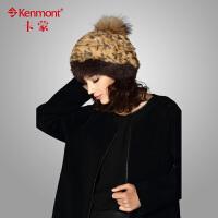kenmont卡蒙 女士冬季帽子 獭兔毛皮草帽子1351