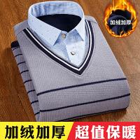冬季假两件保暖衬衫男加绒加厚青年时尚休闲套头毛衣男士保暖衬衣